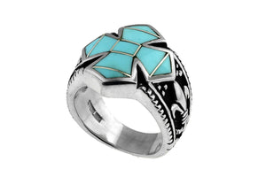 David Rosales Turquoise Cross Ring - Men's Turquoise Jewelry