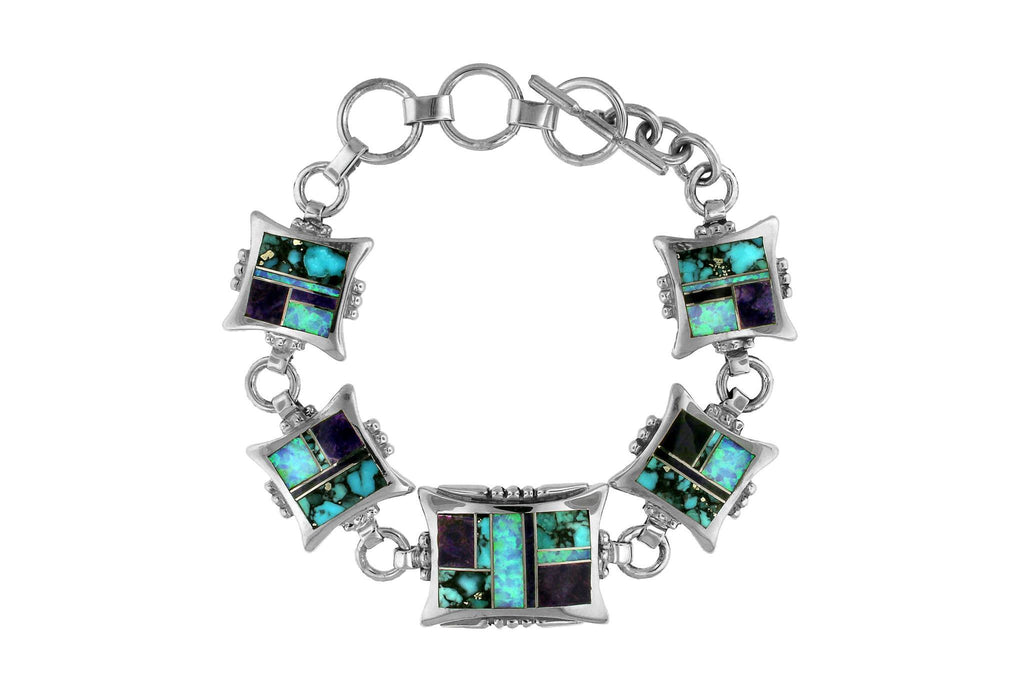 Jewelry - Handmade Native American David Rosales Inlaid Turquoise Bracelet
