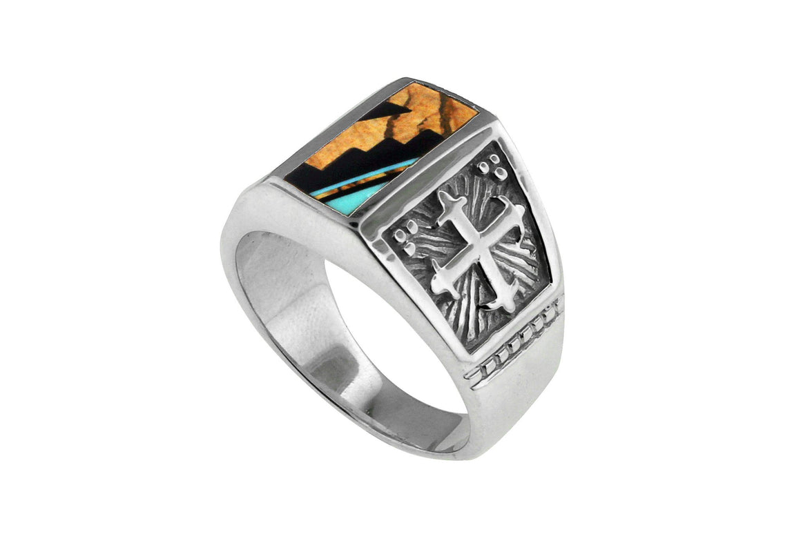 David Rosales Turquoise Creek Man's Ring - Men's Turquoise Rings