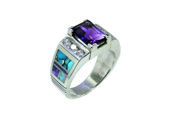 Jewelry - Native American Handmade Amethyst And Turquoise Ring Designed By David Rosales
