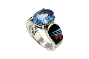 Blue Topaz Red Moon Ring by David Rosales - Native American Jewelry