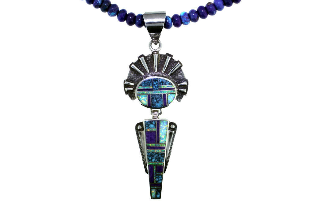 Jewelry - Sterling Silver Inlaid Pendant With Created Opal, Turquoise, And Sugalite
