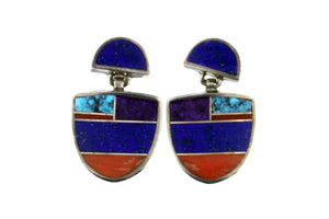 Jewelry - Turquoise, Lapis, Sugalite, Spiny Oyster Shell Sterling Silver Inlaid Earrings