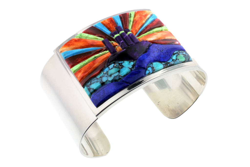 Jewelry - Turquoise, Spiny Oyster Shell, Lapis, Sugilite, And Gaspeite Inlaid Sterling Silver Bracelet