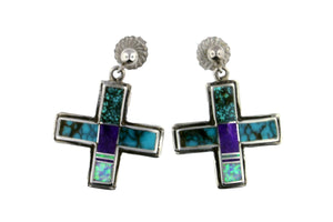 Jewelry - Turquoise, Sugalite, And Created Opal Inlaid Cross Earrings