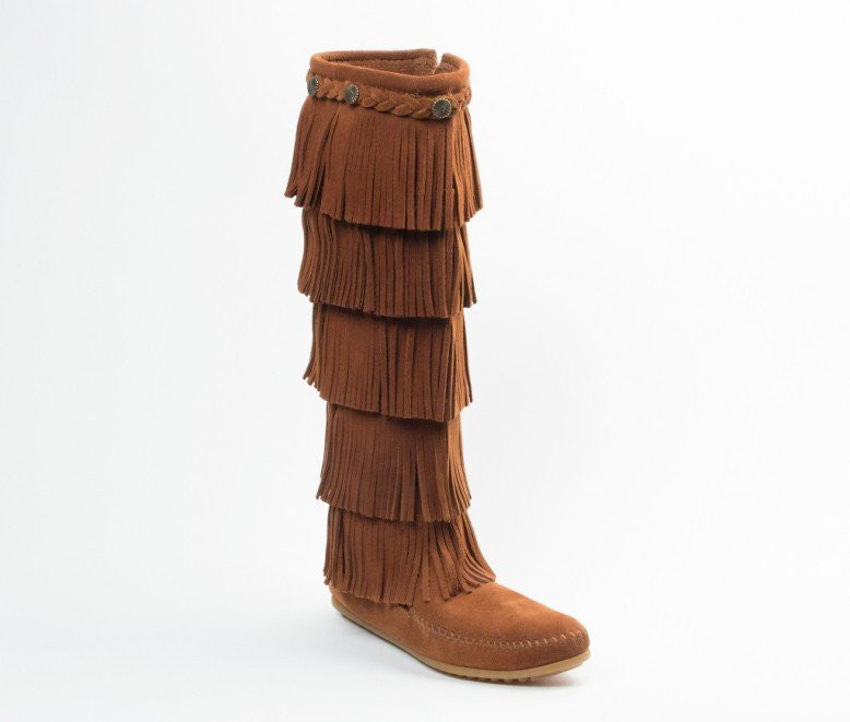Moccasin - 5-Layer Fringe Boot With Rubber Sole By Minnetonka Moccasins