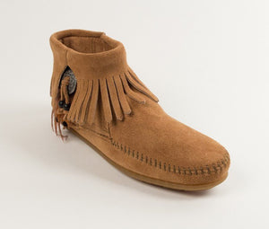 Moccasin - Minnetonka Concho/Feather Side Zip Boot Moccasin