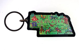 Souvenir - Nebraska Souvenir Map Key Chain