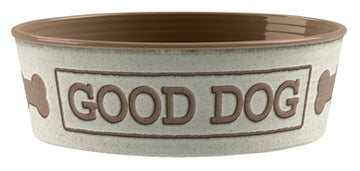 Tarhong Voerbak Good Dog Melamine Wit Taupe 17X17X6 CM 950 ML