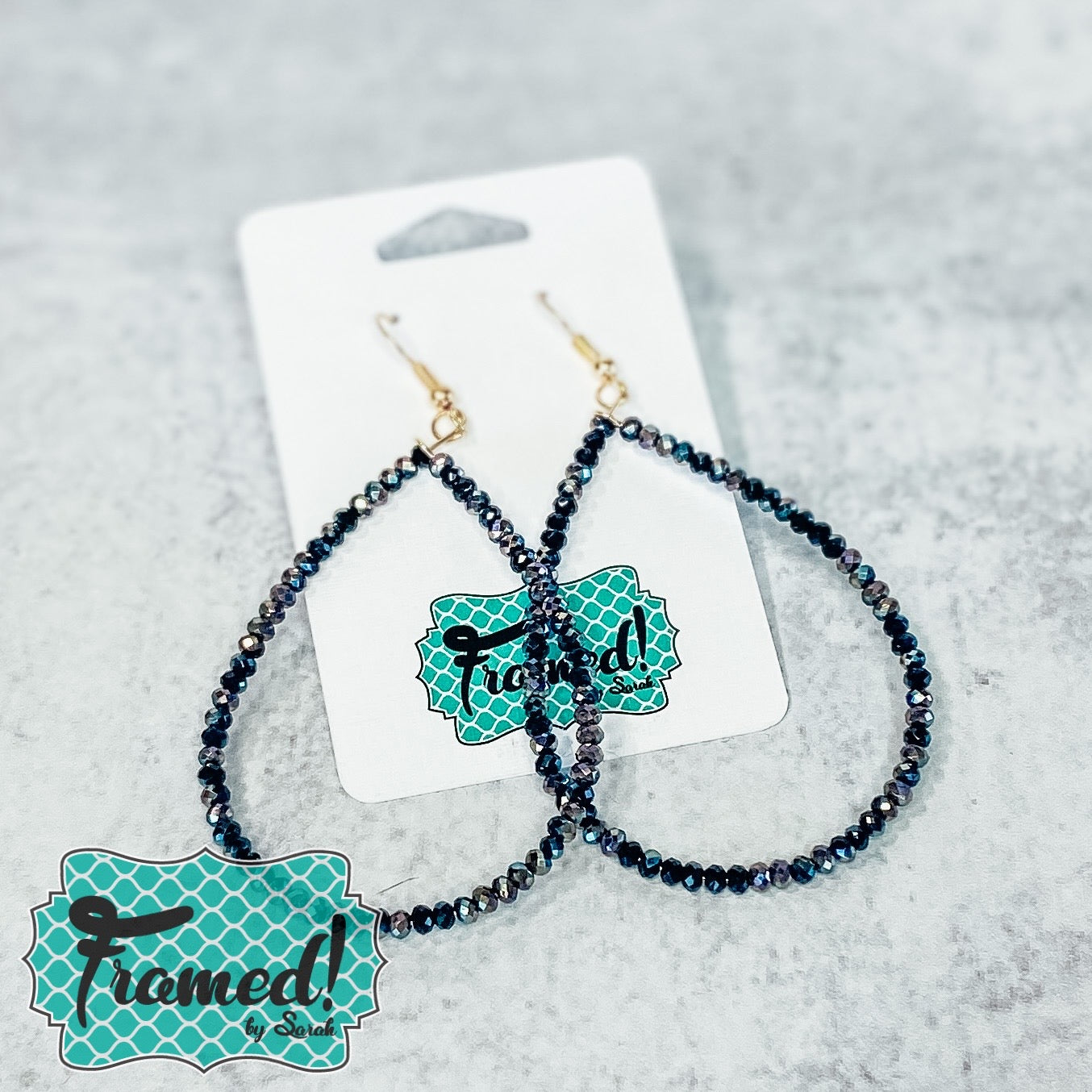 Black Sparkly Drop Earrings