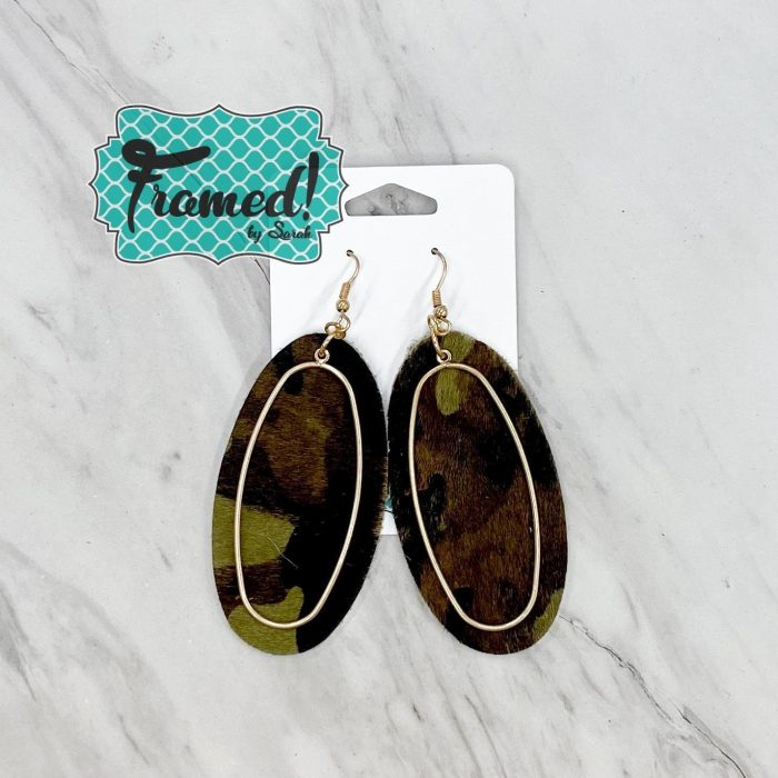 Camo & Gold Oval Earrings