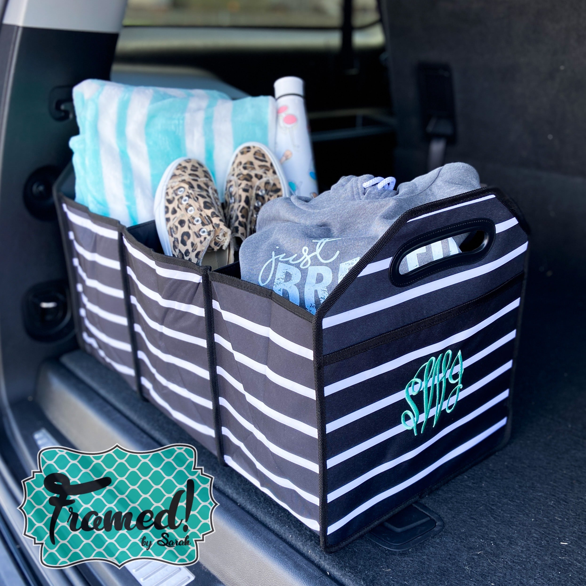 Striped Trunk Organizer
