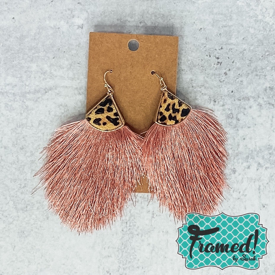 Leopard & Pink Fringe Earrings