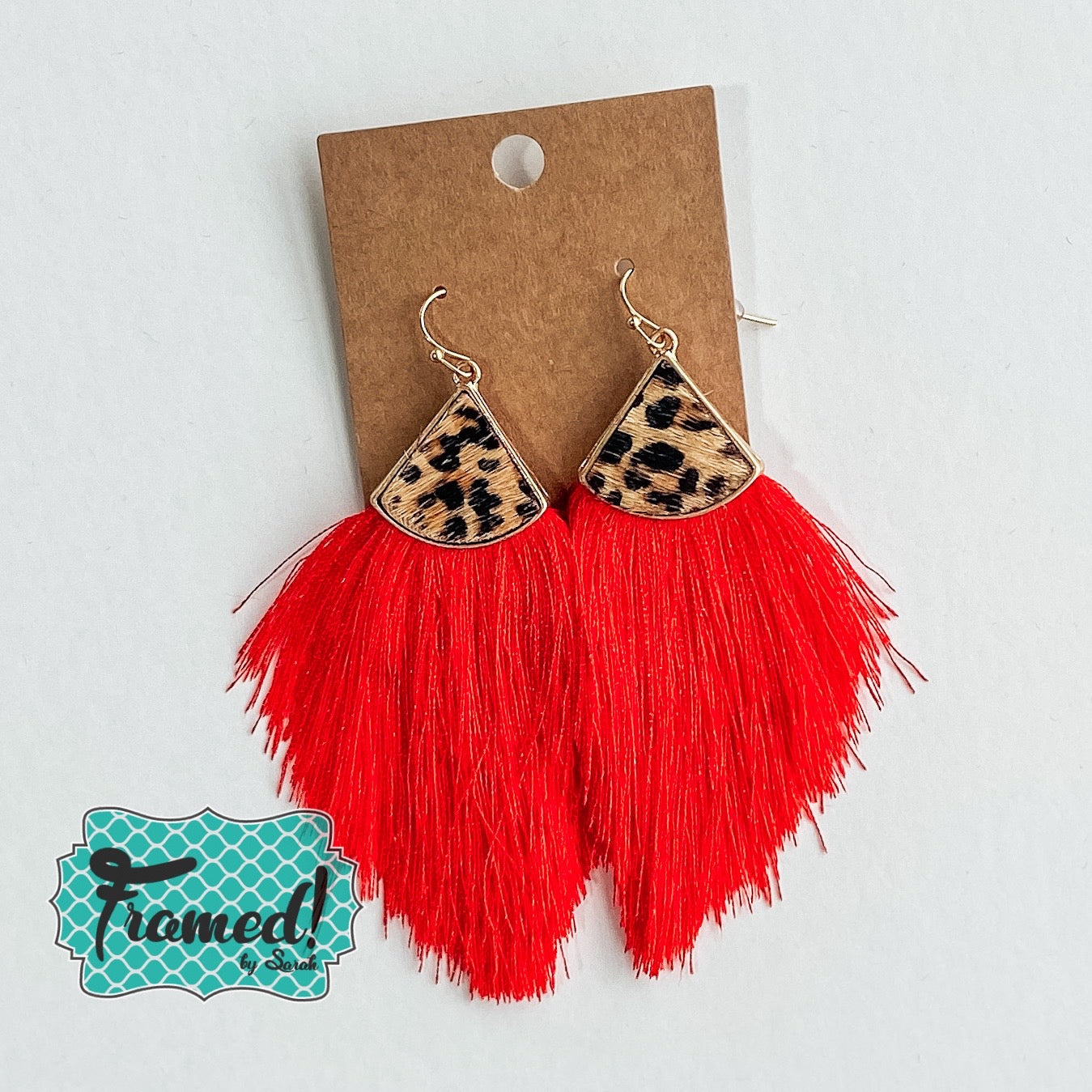 Leopard & Red Fringe Earrings