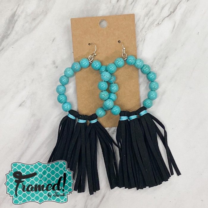 Turquoise Bead & Black Leather Earrings