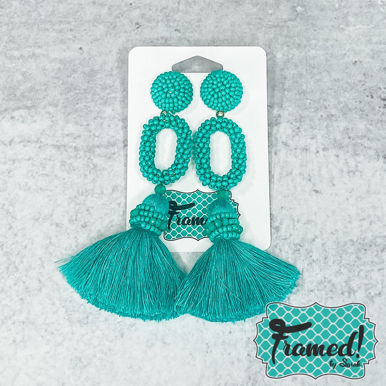 Turquoise Beaded Loop Earrings