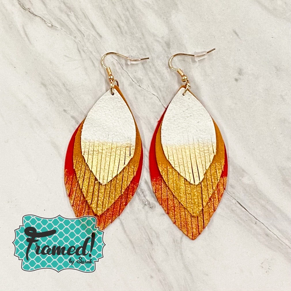 Red Dipped Feather Earrings
