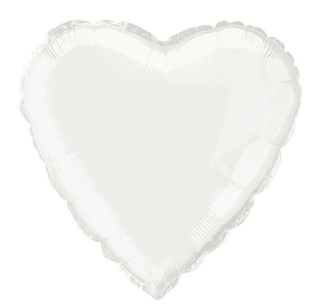 Heart Foil White 45cm Balloon