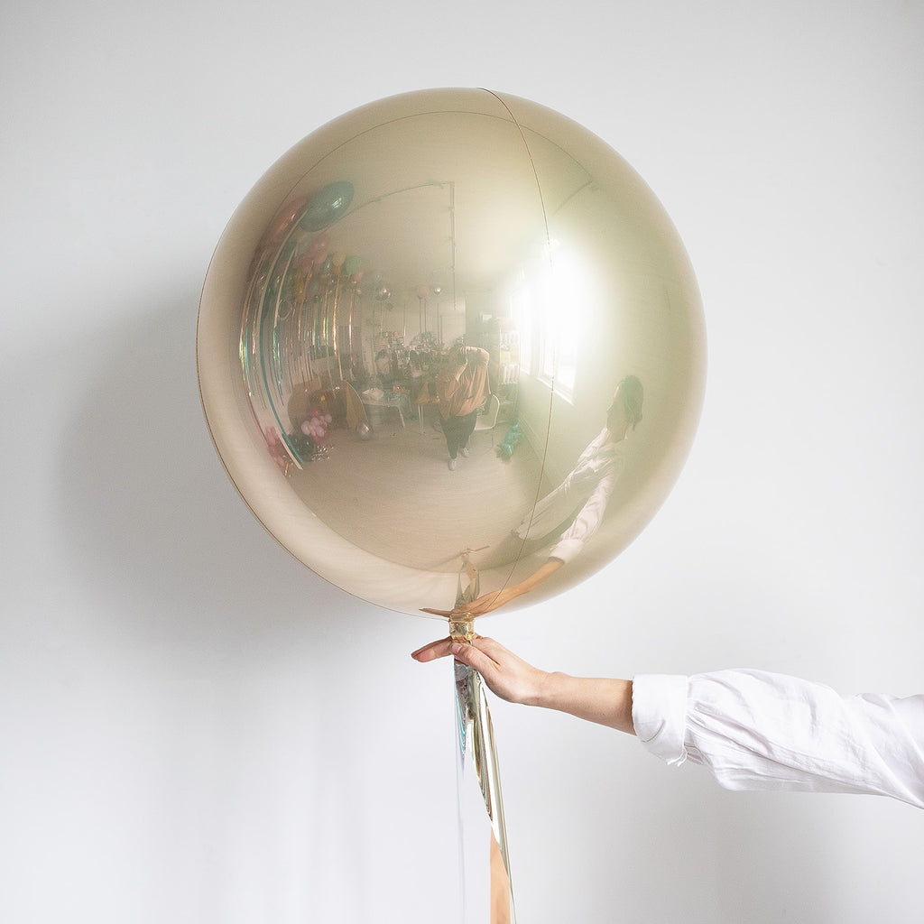Personalised Jumbo Champagne Metallic Balloon with Foil Ribbon