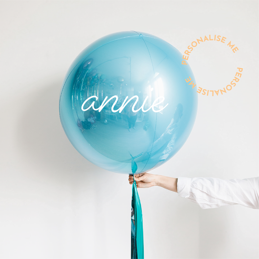 Personalised Jumbo Blue Metallic Balloon with Foil Ribbon