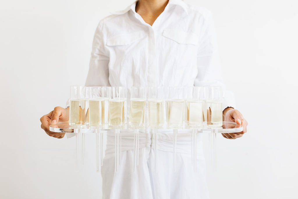 Champagne Flutes with Tray - Row of 16