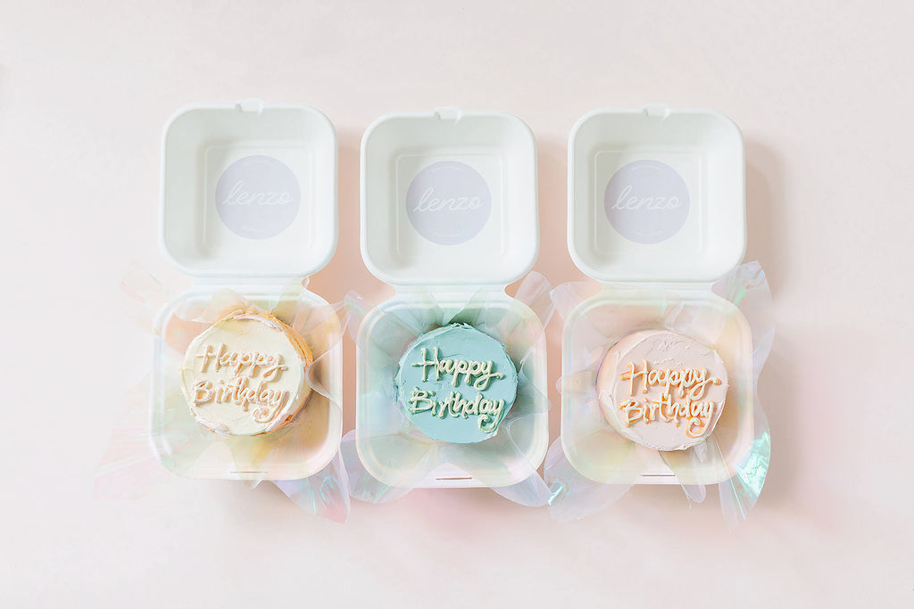 Mini Cake in a Burger Box - Pastel Pink