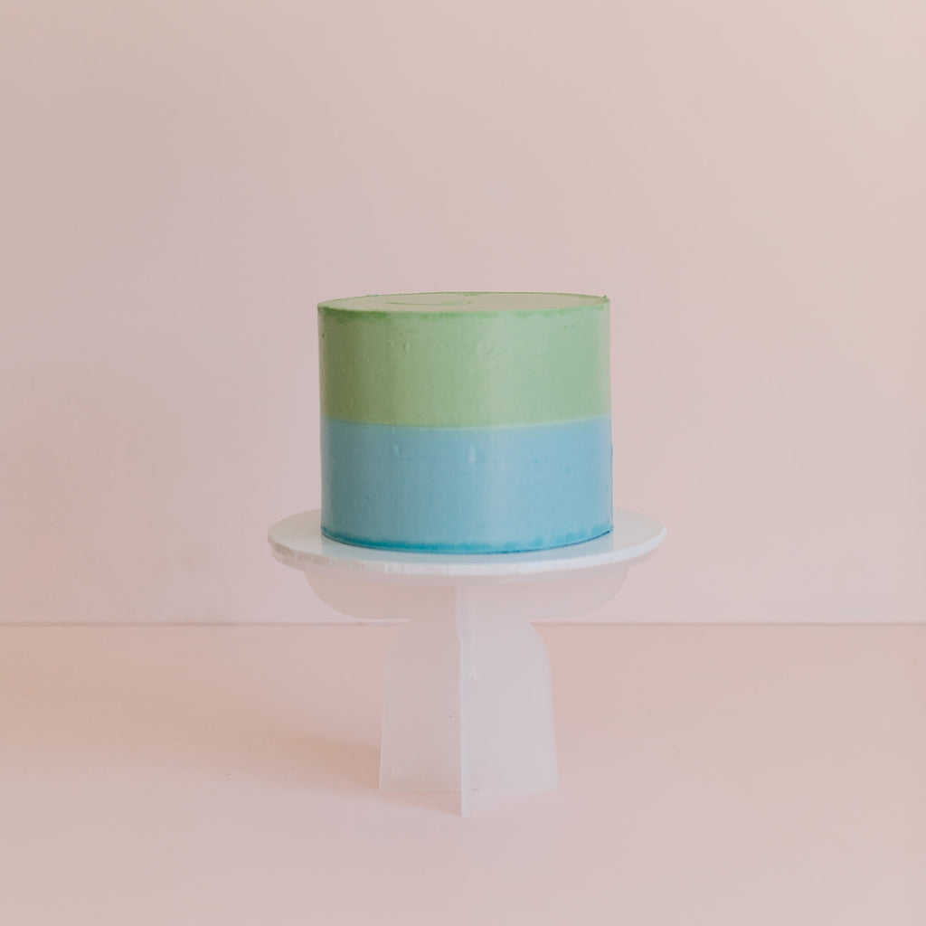 Pastel Blue and Green Two Tone Colour Block Cake