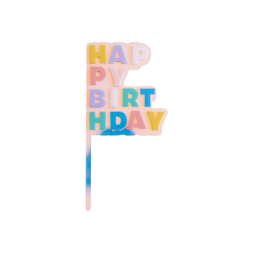 Pastel Happy Birthday Cake Topper