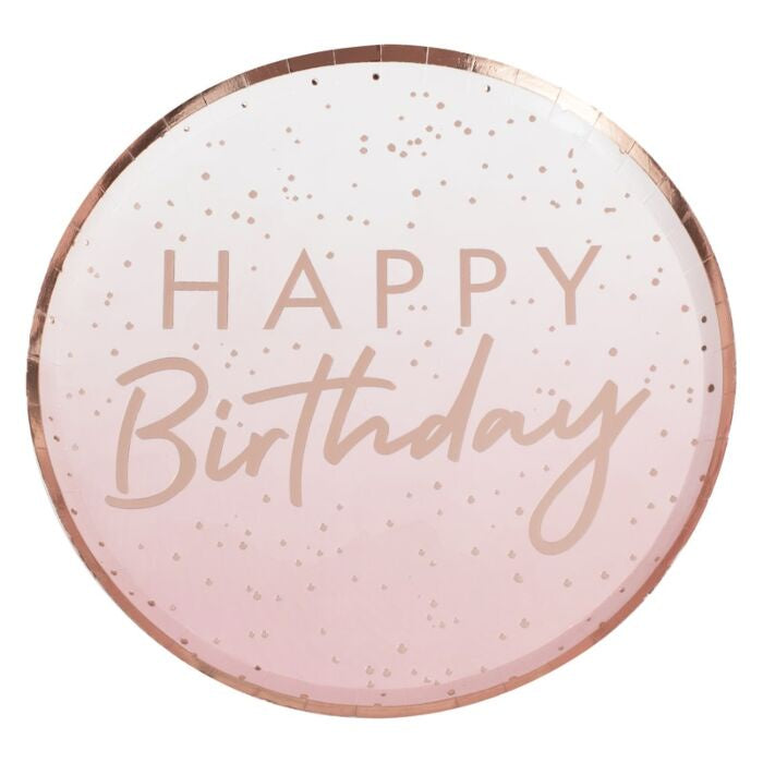Happy Birthday Pink Ombre Rose Gold Plate - Pack of 8