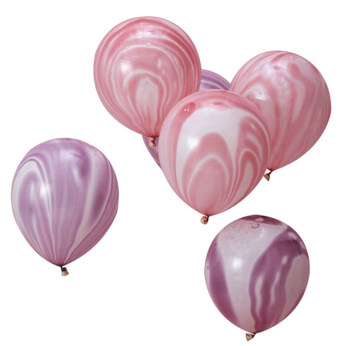Pink and Purple Marble Balloons - Pack of 12