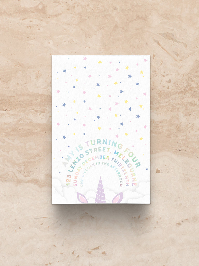 Unicorn Invitation (print)