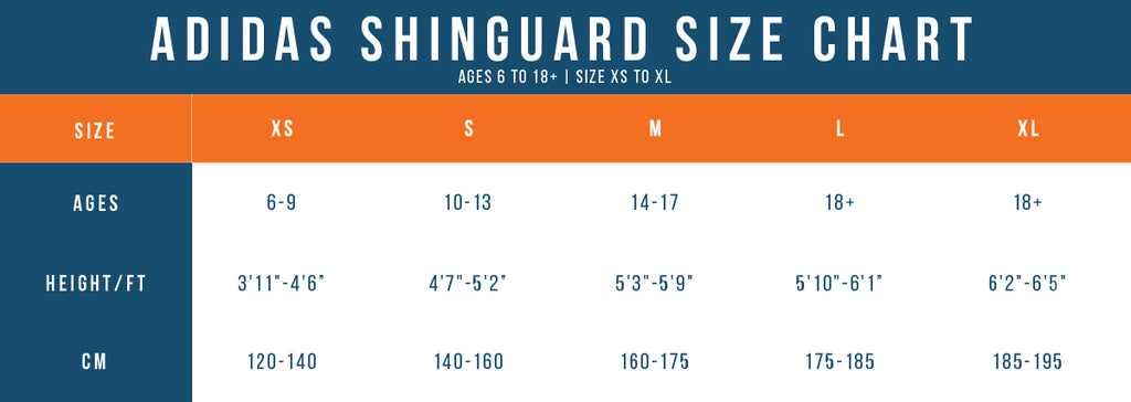 adidas shinguard sizing chart