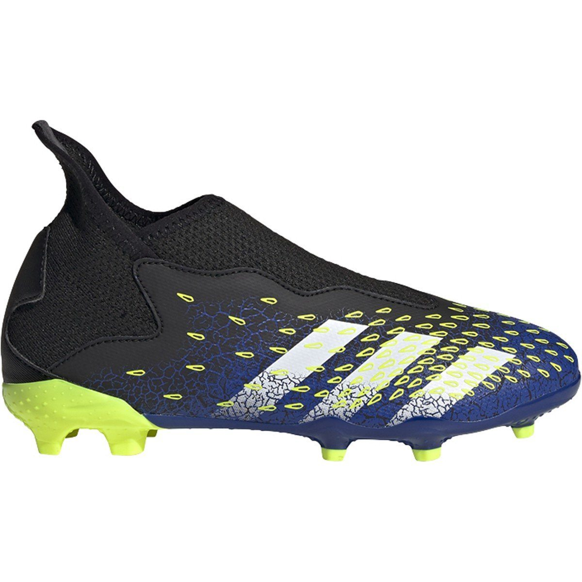 adidas Boys Firm Ground Predator Freak .3 Laceless | FY0618 Goal Kick Soccer 1.0 Black/White/Solar Yellow