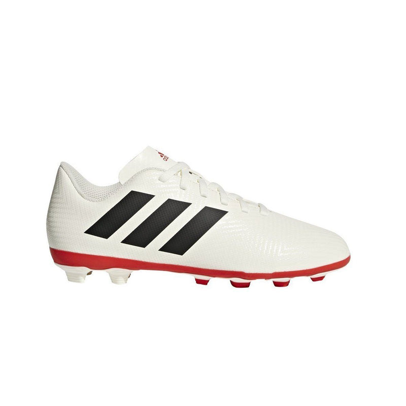 adidas Kids' Nemeziz 18.4 Firm Ground Soccer Shoe | CM8510 Cleats adidas 11.0K Off White/Black/Active Red