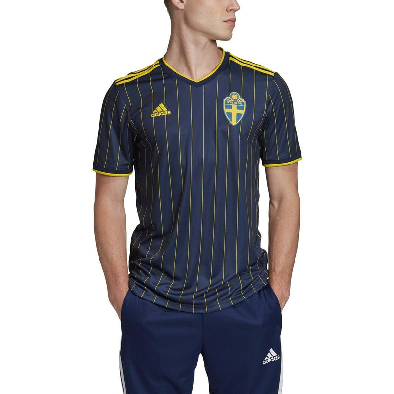 adidas Men's 2020-21 Sweden Away Jersey | FH7618 Jersey Adidas Adult Small Night Indigo/Yellow