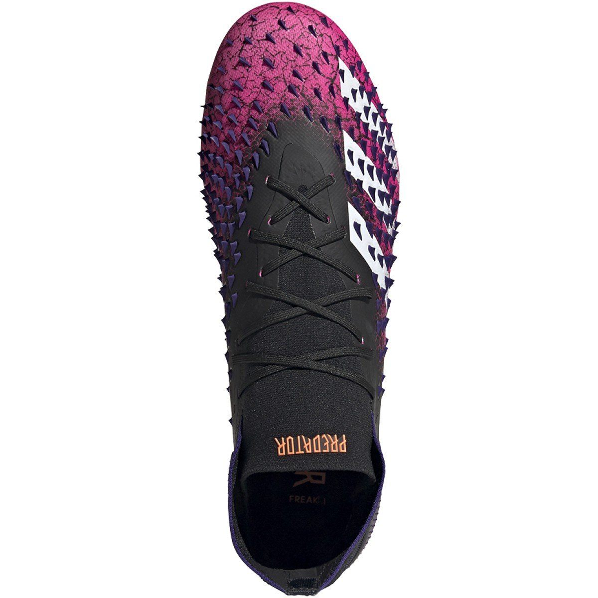 adidas Men's Predator Freak .1 Firm Ground Soccer Shoe | FW7241 Soccer Shoes Adidas 8.5 Core Black / Cloud White / Shock Pink