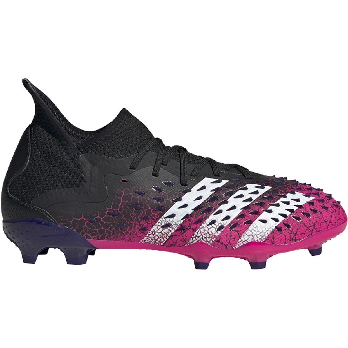 adidas Unisex-Child Predator Freak .1 Firm Ground Soccer Cleats | FW7528 Soccer Shoes Adidas 1 Black/White/Shock Pink