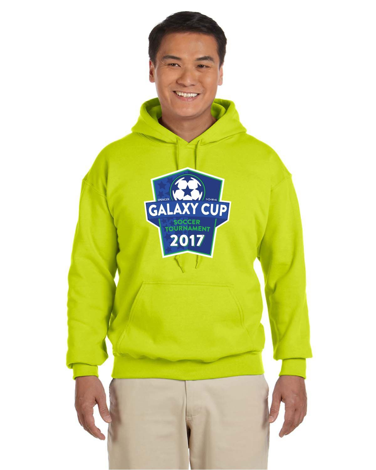 Galaxy Cup Hooded Sweatshirt - Safety Green Goal Kick Soccer Youth Large