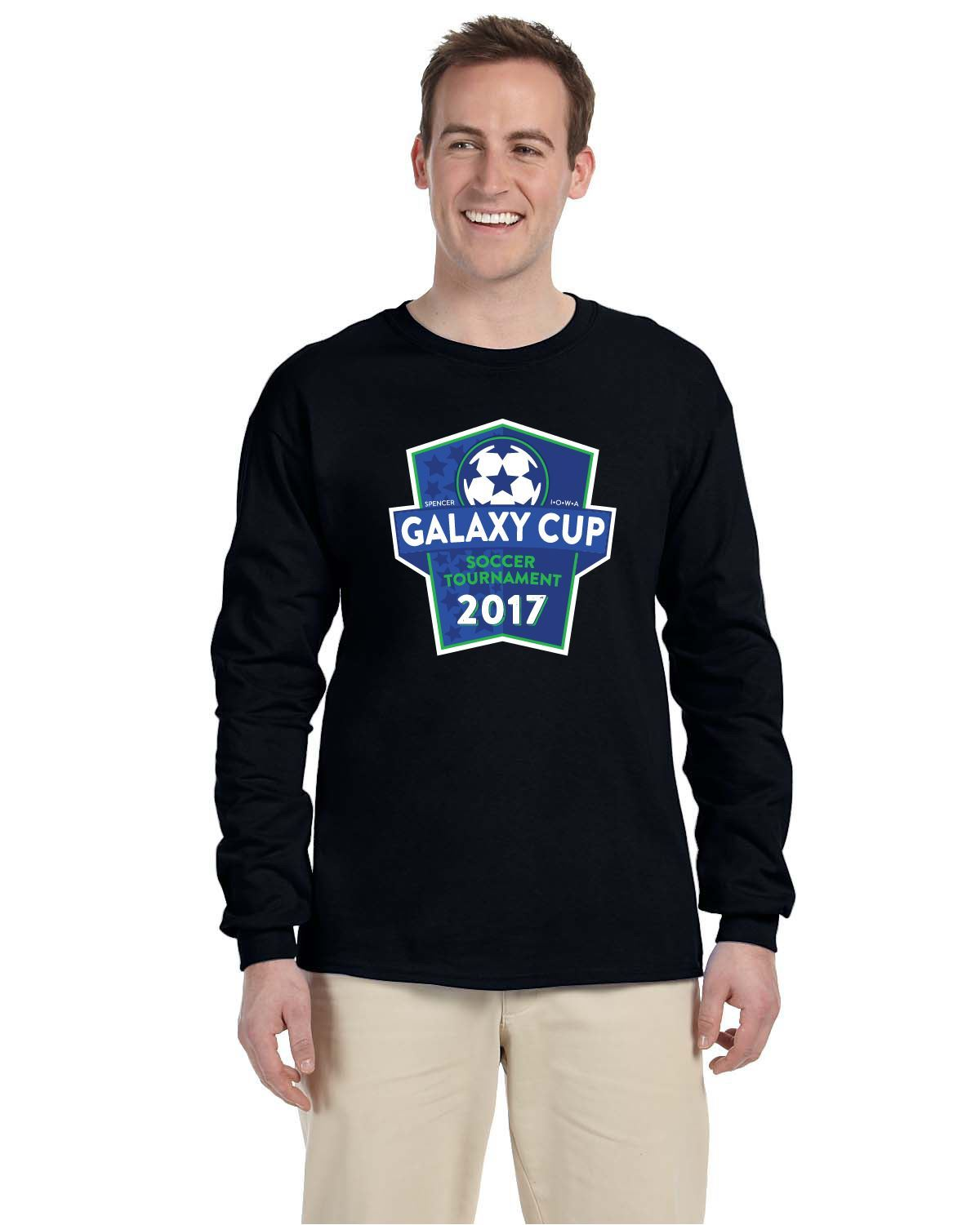Galaxy Cup Long Sleeve Tee - Black Goal Kick Soccer Youth Large