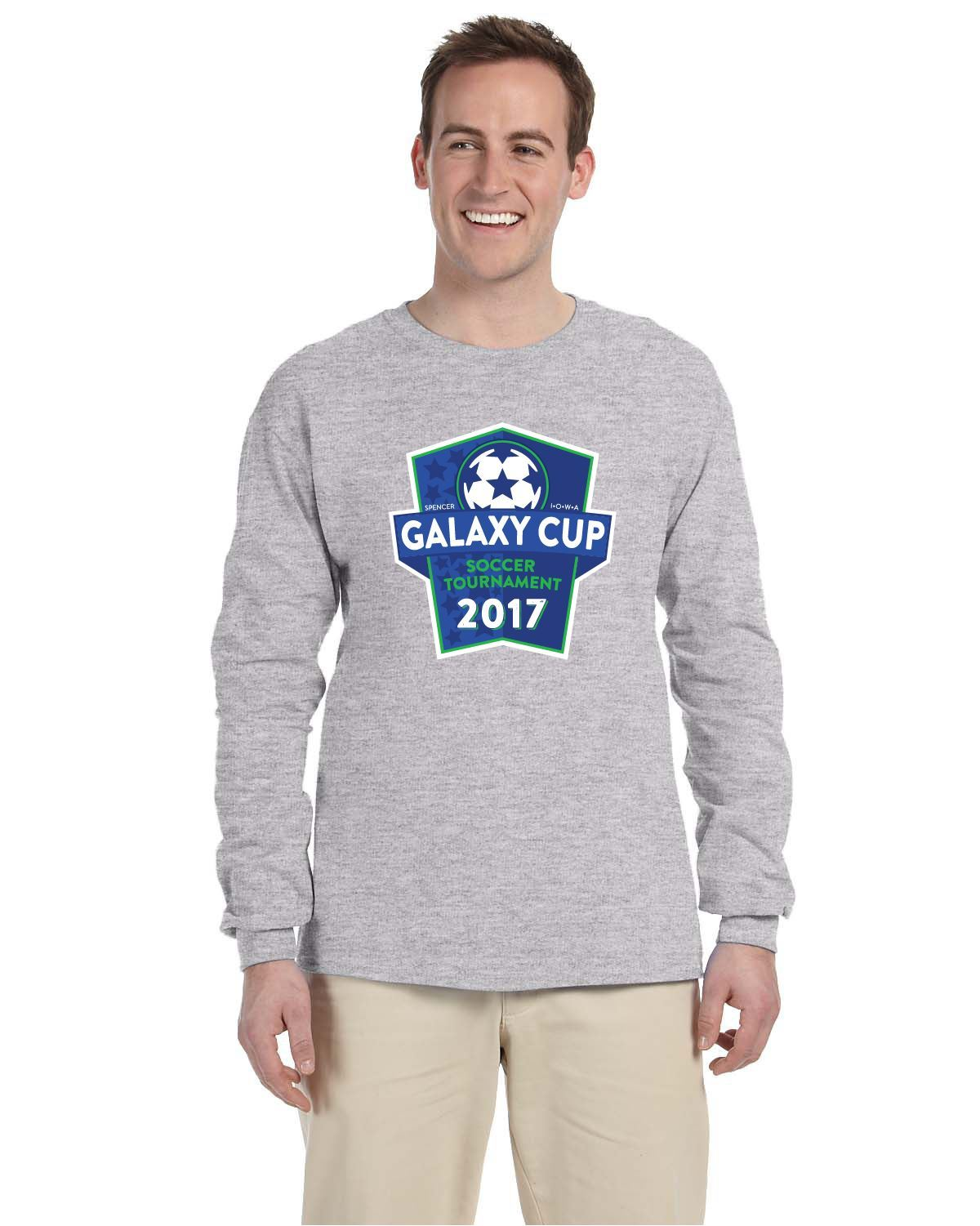 Galaxy Cup Long Sleeve Tee - Sport Grey Goal Kick Soccer Youth Large