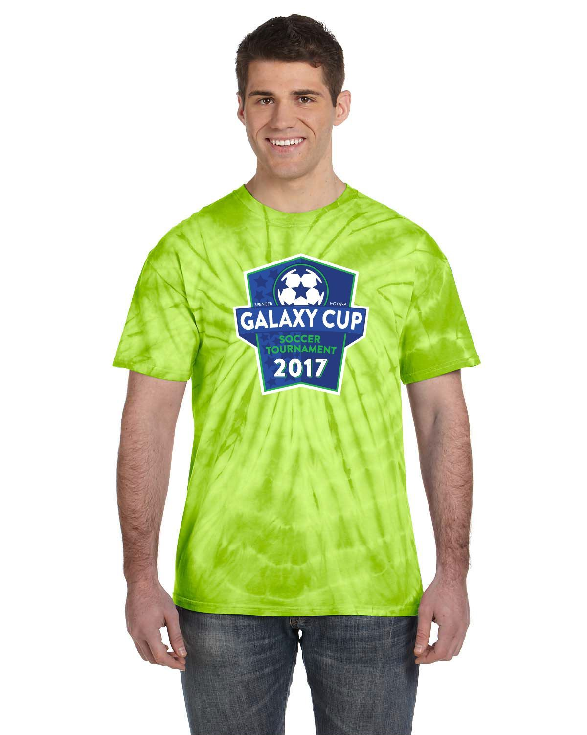 Galaxy Cup Short Sleeve Tee - Lime Tie Dye Goal Kick Soccer Youth Large