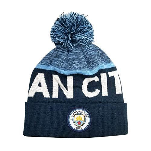 Icon Sports Kid's Manchester City FC Soccer Pom Beanie | MCBN-2 Beanie Icon Sports Group Navy Cuff
