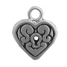 Charms. Sterling Silver, 11.4mm Width by 2.7mm Length by 13.6mm Height, Heart Charm. Quantity Per Pack: 1 Piece.
