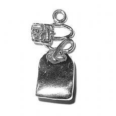 Charms. Sterling Silver, 11.38mm Width by 7.8mm Length by 22.7mm Height, Tea Bag Charm. Quantity Per Pack: 1 Piece.
