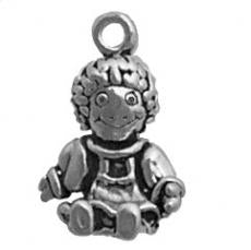 Charms. Sterling Silver, 12.7mm Width by 9.3mm Length by 19.6mm Height, Rag Doll Charm. Quantity Per Pack: 1 Piece.