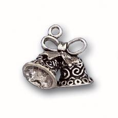 Charms. Sterling Silver, 19.3mm Width by 10.1mm Length by 17.3mm Height, Wedding Bells Charm. Quantity Per Pack: 1 Piece.