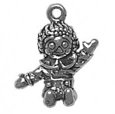 Charms. Sterling Silver, 16.4mm Width by 8.6mm Length by 17.7mm Height, Boy Rag Doll Charm. Quantity Per Pack: 1 Piece.