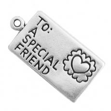 Charms. Sterling Silver, 12.2mm Width by 2.1mm Length by 24.2mm Height, Love Letter Charm. Quantity Per Pack: 1 Piece.