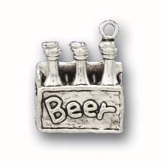 Charms. Sterling Silver, 13.7mm Width by 9.7mm Length by 16.2mm Height, Six Pack of Beer Charm. Quantity Per Pack: 1 Piece.