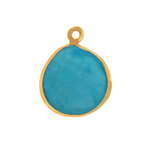 Stone Connectors & Drops. Sterling Silver Gold Plated / Vermeil 15.3mm Width by 18.6mm Length, Turquoise Stone, Tear Drop, Drop with one 3.2mm Closed Ring. Quantity Per Pack: 1 Piece.